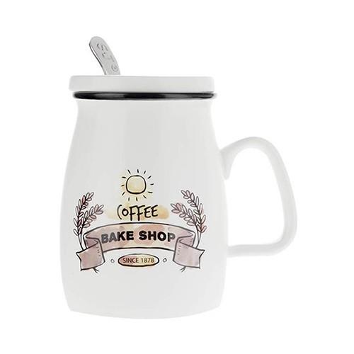 ماگ دردار سرامیکی سفید قهوه ای vintage