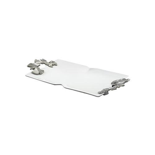 دیس مستطیلی دسته دار سرامیکی سایز بزرگ سفید B.V.K