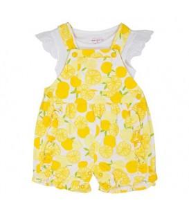 ست بلوز و سرهمی نوزادی دخترانه سفید لیمویی TCP