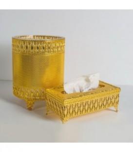 سطل و جا دستمال کاغذی استیل کد 163