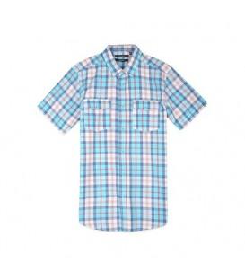 پیراهن آستین کوتاه چهارخانه مردانه آبی Top Secret