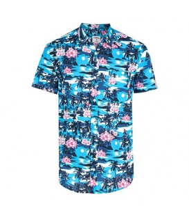 پیراهن نخی مردانه آبی Terranova