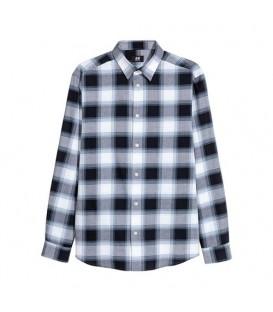 پیراهن مردانه چهارخانه سرمهای سفید H&M