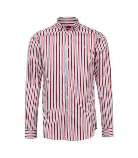 پیراهن مردانه سفید قرمز راهراه Roni