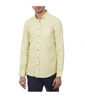 پیراهن مردانه زرد راهراه Roni
