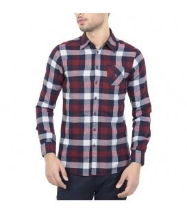 پیراهن مردانه زرشکی سرمهای چهارخانه Roni