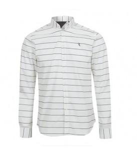 پیراهن مردانه سفید مشکی راهراه Roni