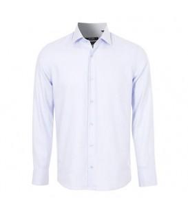 پیراهن مردانه نخی یاسی سفید چهارخانه Arma