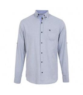 پیراهن مردانه نخی آبی روشن چهارخانه Arma