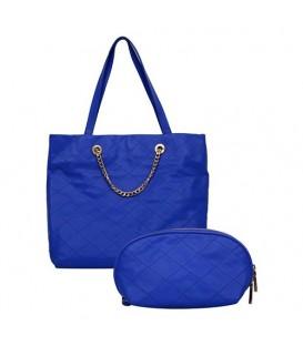 ست کیف دستی و آرایشی زنانه آبی کاربنی Charles & Keith کد21